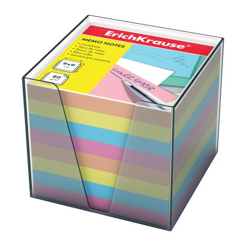 Блок бумажный белый в пласт. тонированной серой подставке разм. 8х8х8 см ПВ22